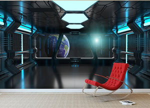 Inside a Spaceship Wall Mural Wallpaper - Canvas Art Rocks - 2