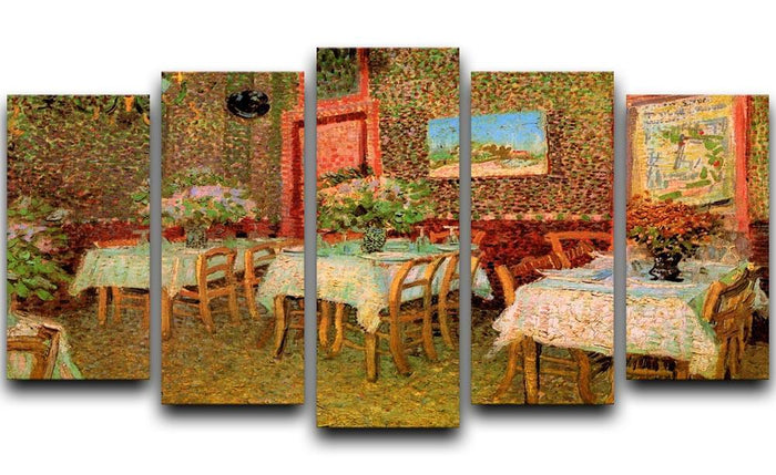 Interior of a restaurant by Van Gogh 5 Split Panel Canvas