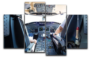Interior of airplane cockpit 4 Split Panel Canvas  - Canvas Art Rocks - 1