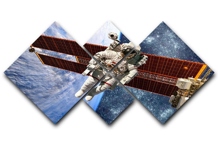 International Space Station and astronaut 4 Square Multi Panel Canvas