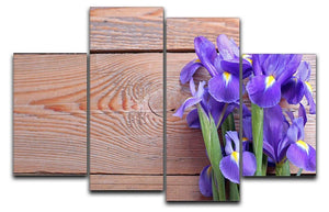 Iris on an old wooden background 4 Split Panel Canvas  - Canvas Art Rocks - 1