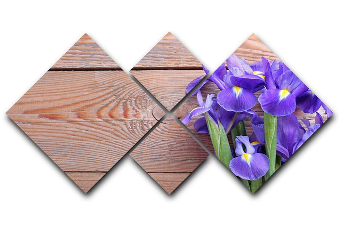 Iris on an old wooden background 4 Square Multi Panel Canvas