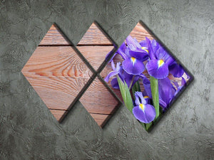 Iris on an old wooden background 4 Square Multi Panel Canvas  - Canvas Art Rocks - 2