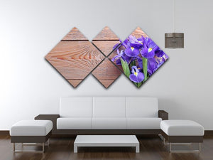 Iris on an old wooden background 4 Square Multi Panel Canvas  - Canvas Art Rocks - 3