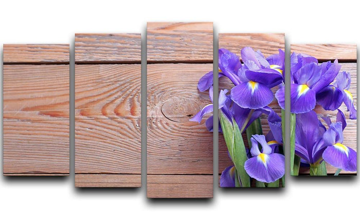 Iris on an old wooden background 5 Split Panel Canvas