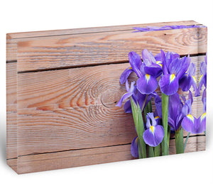 Iris on an old wooden background Acrylic Block - Canvas Art Rocks - 1