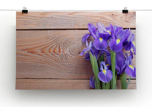 Iris on an old wooden background Canvas Print or Poster - Canvas Art Rocks - 2