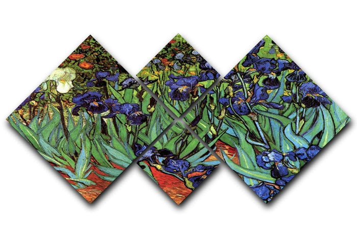 Irises 2 by Van Gogh 4 Square Multi Panel Canvas
