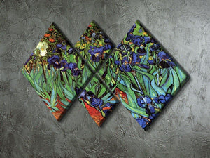 Irises 2 by Van Gogh 4 Square Multi Panel Canvas - Canvas Art Rocks - 2