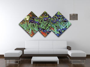 Irises 2 by Van Gogh 4 Square Multi Panel Canvas - Canvas Art Rocks - 3