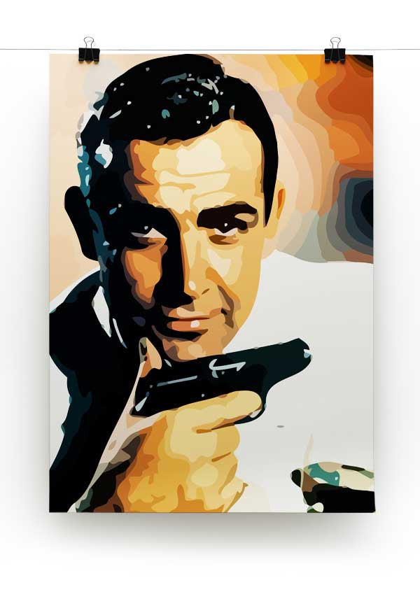 James Bond Sean Connery and Gun Print - Canvas Art Rocks - 2