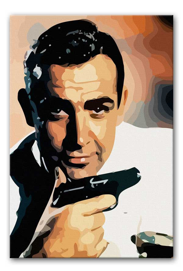 James Bond Sean Connery and Gun Canvas Print or Poster