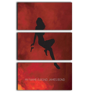 James Bond Minimal Movie 3 Split Panel Canvas Print - Canvas Art Rocks - 1