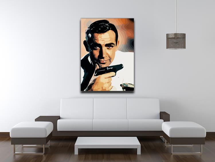 James Bond Sean Connery and Gun Canvas Print & Poster - US Canvas Art Rocks