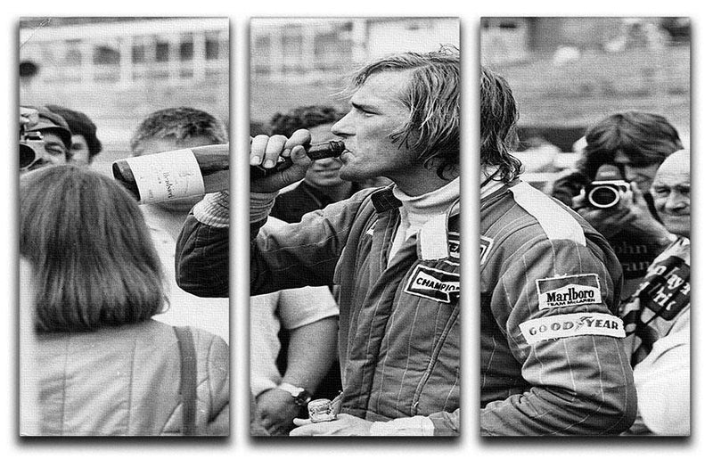 James Hunt swigging champagne 3 Split Panel Canvas Print - Canvas Art Rocks - 1