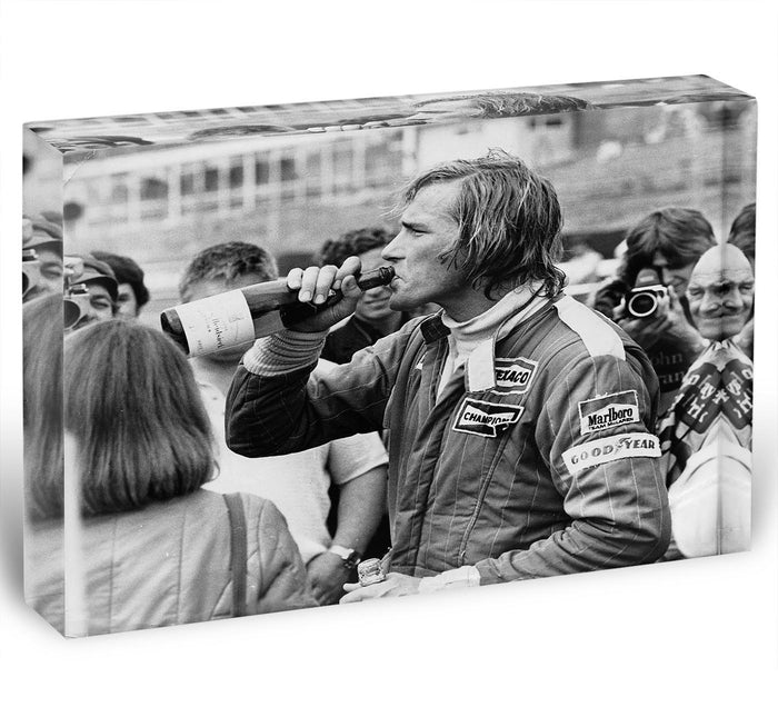 James Hunt swigging champagne Acrylic Block