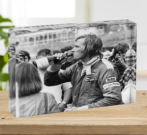 James Hunt swigging champagne Acrylic Block - Canvas Art Rocks - 2