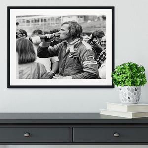 James Hunt swigging champagne Framed Print - Canvas Art Rocks - 1