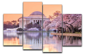 Jefferson Memorial during the Cherry Blossom Festival 4 Split Panel Canvas  - Canvas Art Rocks - 1