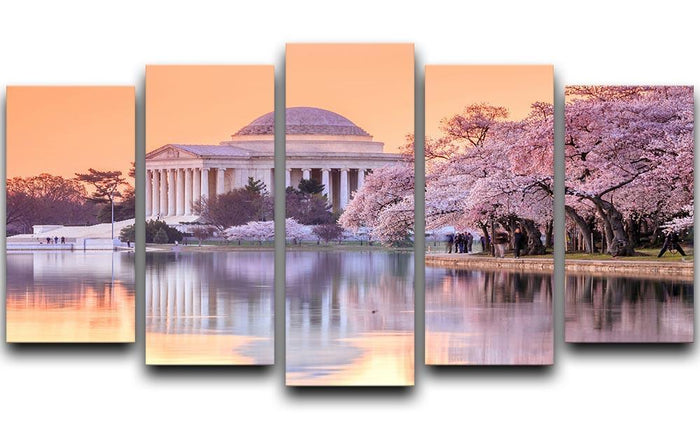 Jefferson Memorial during the Cherry Blossom Festival 5 Split Panel Canvas