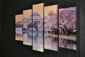 Jefferson Memorial during the Cherry Blossom Festival 5 Split Panel Canvas  - Canvas Art Rocks - 2