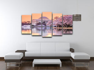 Jefferson Memorial during the Cherry Blossom Festival 5 Split Panel Canvas  - Canvas Art Rocks - 3