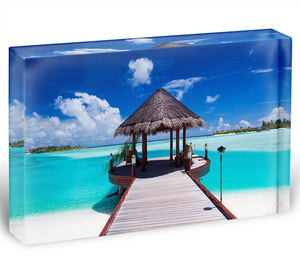 Jetty with amazing ocean Acrylic Block - Canvas Art Rocks - 1