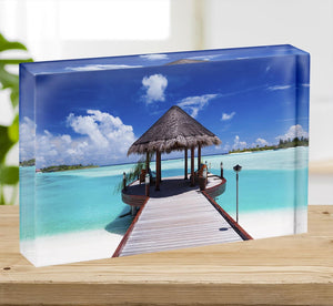 Jetty with amazing ocean Acrylic Block - Canvas Art Rocks - 2