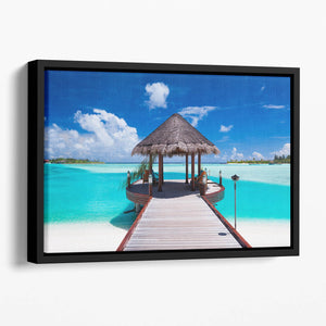 Jetty with amazing ocean Floating Framed Canvas
