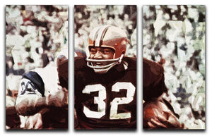 Jim Brown Cleveland Browns 3 Split Panel Canvas Print - Canvas Art Rocks - 1