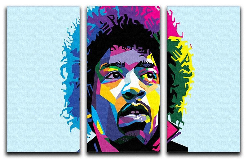 Jimi Hendrix Pop Art 3 Split Panel Canvas Print - Canvas Art Rocks - 1