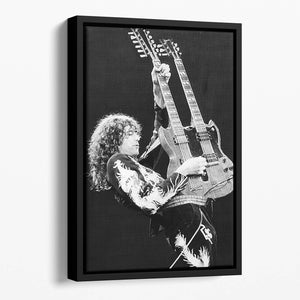 Jimmy Page of Led Zeppelin Floating Framed Canvas