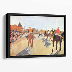 Jockeys in front of the grandstand by Degas Floating Framed Canvas