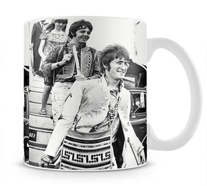 John Lennon Paul McCartney and Jane Asher getting off a plane Mug - Canvas Art Rocks - 1