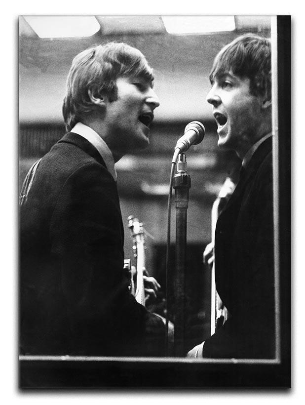 John Lennon and Paul McCartney in a recording studio Canvas Print or Poster  - Canvas Art Rocks - 1