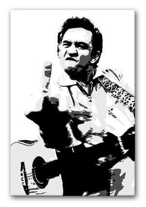 Johnny Cash Middle Finger Print - Canvas Art Rocks - 1