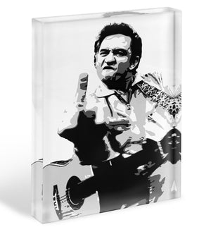 Johnny Cash Middle Finger Acrylic Block - Canvas Art Rocks - 1