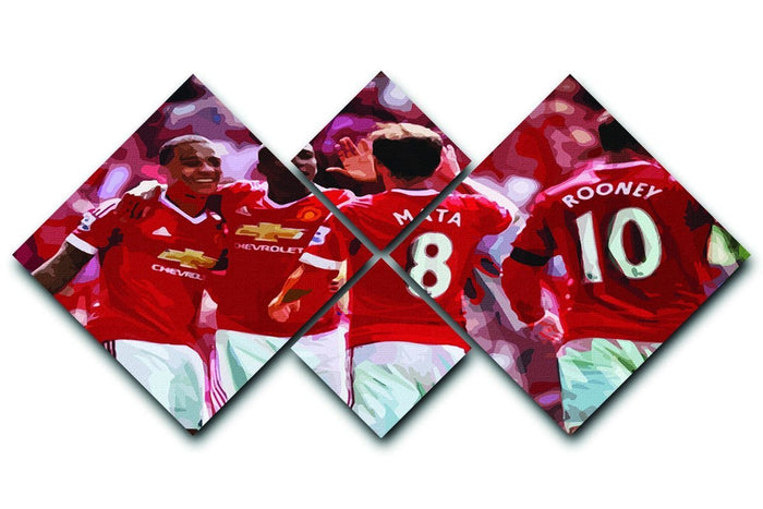 Juan Mata and Wayne Rooney 4 Square Multi Panel Canvas