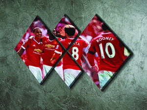 Juan Mata and Wayne Rooney 4 Square Multi Panel Canvas - Canvas Art Rocks - 2