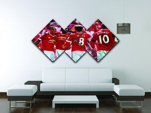 Juan Mata and Wayne Rooney 4 Square Multi Panel Canvas - Canvas Art Rocks - 3