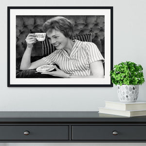 Julie Andrews with a cup of tea Framed Print - Canvas Art Rocks - 1