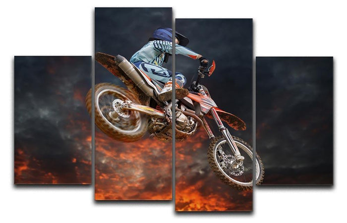 Jumping motocross rider 4 Split Panel Canvas
