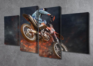 Jumping motocross rider 4 Split Panel Canvas  - Canvas Art Rocks - 2