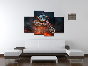 Jumping motocross rider 4 Split Panel Canvas  - Canvas Art Rocks - 3