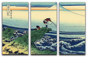 Kajikazawa in Kai province by Hokusai 3 Split Panel Canvas Print - Canvas Art Rocks - 1