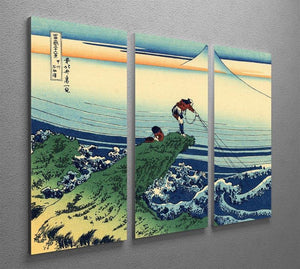 Kajikazawa in Kai province by Hokusai 3 Split Panel Canvas Print - Canvas Art Rocks - 2