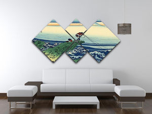 Kajikazawa in Kai province by Hokusai 4 Square Multi Panel Canvas - Canvas Art Rocks - 3
