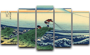 Kajikazawa in Kai province by Hokusai 5 Split Panel Canvas  - Canvas Art Rocks - 1