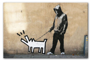 Banksy Keith Haring Dog Print - Canvas Art Rocks - 1