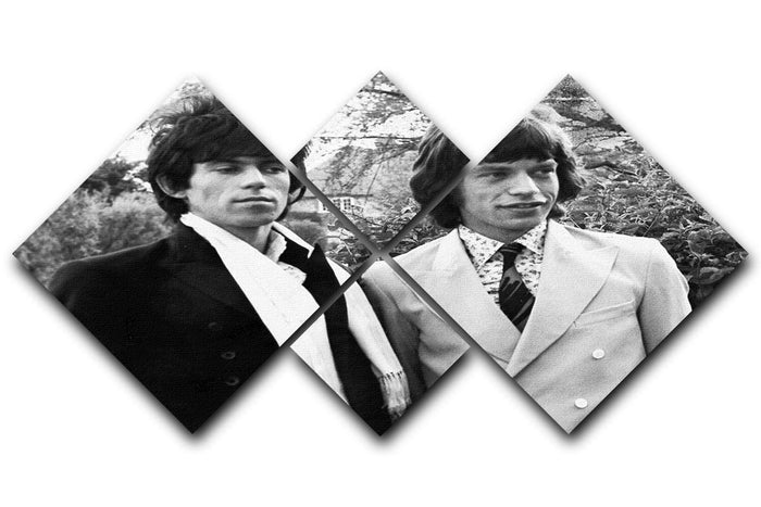 Keith Richards and Mick Jagger 4 Square Multi Panel Canvas